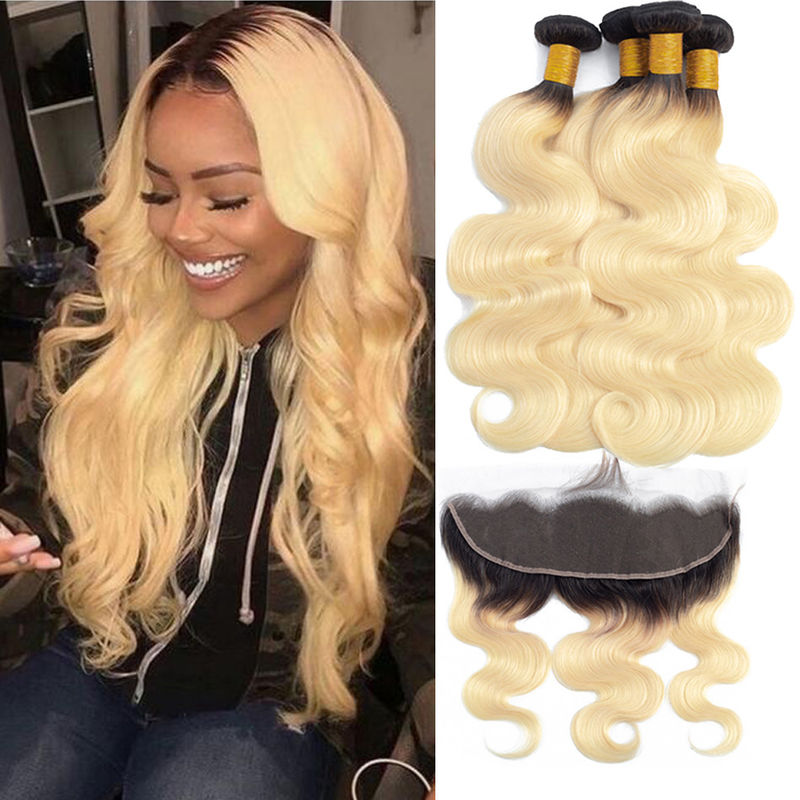 Enropean Virgin Human Hair Extensions 13 X 6 Lace Frontal 1B / 613 Color